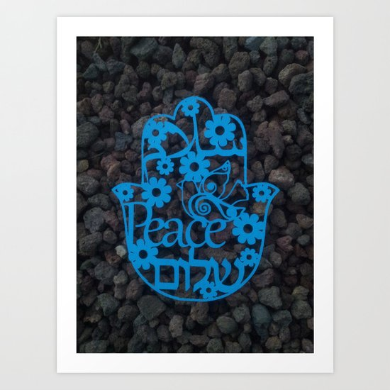 Paper cut -Peace in 3 languages Hebrew, Arabic and English Art Print