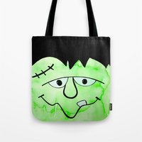 frankenstein Tote Bags featuring Frankenstein by HollyJonesEcu