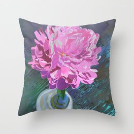 Single Pink Peony in a Ball Canning Jar Throw Pillow