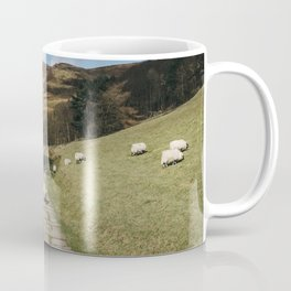 Stone footpath and grazing sheep. Edale, Derbyshire, UK. Coffee Mug