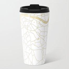 White on Yellow Gold London Street Map Travel Mug