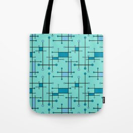 Intersecting Lines in Mint and Blues Tote Bag