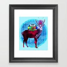 Deer Cat TV Framed Art Print