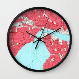 Vintage Map of Jacksonville Florida (1964) 2 Wall Clock