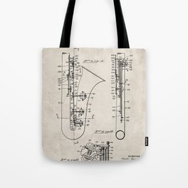 Selmer Saxophone Patent - Saxophone Art - Antique Tote Bag