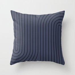 Minimal Line Curvature - Deep Blue & Black Throw Pillow