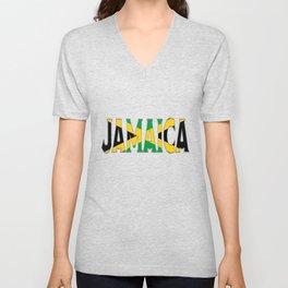 Jamaica Flag Font Unisex V-Neck