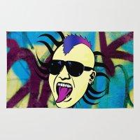 punk Area & Throw Rugs featuring PUNK!!! by Denis Marsili DDTK
