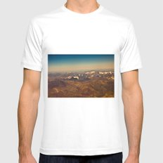 Mountains, snow and sky  from the air White MEDIUM Mens Fitted Tee