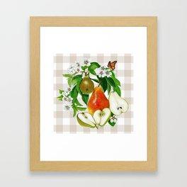 Pears On Plaid Framed Art Print
