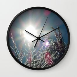 Sun Sparkles Ice Covered Trees Wall Clock