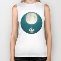 bunnies Biker Tanks featuring moon bunnies by Laura Graves