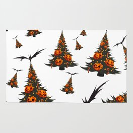 Halloween Christmas Trees Pattern - White Rug