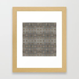 Lace Coin Polka Dots Pattern with Silver Leaf Background Framed Art Print