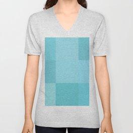 Turquoise grid Unisex V-Neck