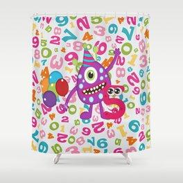 Birthday Monsters 5th Birthday Shower Curtain