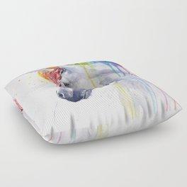 Rainbow Unicorn Watercolor Animal Magical Whimsical Animals Floor Pillow