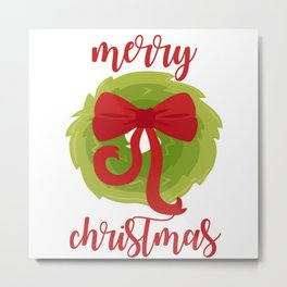Merry Christmas Bow Wreath Print Metal Print