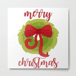 Merry Christmas Bow Wreath Print Metal Print
