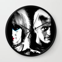 blade runner Wall Clocks featuring Blade Runner Nexus 6 by PsychoBudgie
