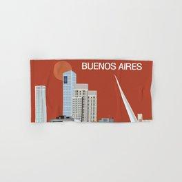 Buenos Aires, Argentina - Skyline Illustration by Loose Petals Hand & Bath Towel