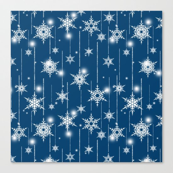 Christmas pattern. White snowflakes on a blue background. Canvas Print