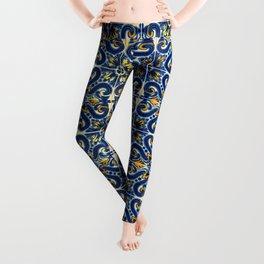 Blue, Yellow and Orange Portuguese Tile  Leggings