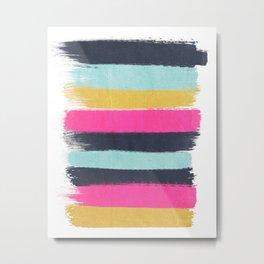 Inez - Brushstroke print in bold, modern colors Metal Print