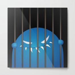 Blue Evil Monster Captured Metal Print