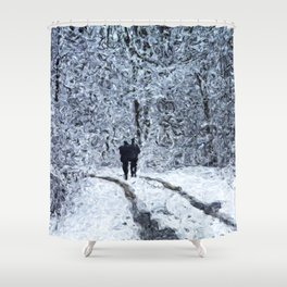 Snow path in the wood, winter walk Shower Curtain