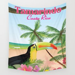 Tamarindo Costa Rica cartoon beach poster. Wall Tapestry