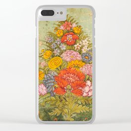 Bouquet of Flowers - Vintage Indian Art Print Clear iPhone Case