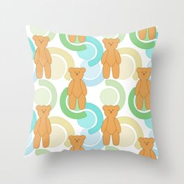 Tedy Bear Bonanza - Green Throw Pillow