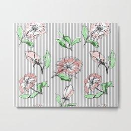 hand drawn flowers, striped Metal Print