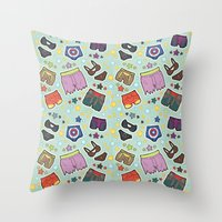 super heroes Throw Pillows featuring kinky super heroes by Audrey Molinatti