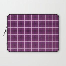 Byzantium - violet color - White Lines Grid Pattern Laptop Sleeve