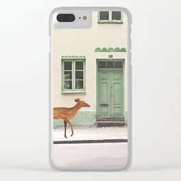 Deer in town Clear iPhone Case