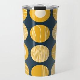 Kugeln - Minimalist Decorated Dot Pattern in Mustard Yellow and Navy Blue Travel Mug