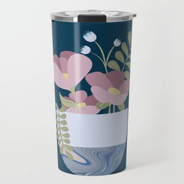 Flowers in Marbleised Vase 1# Travel Mug