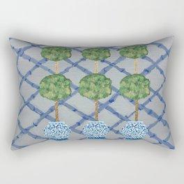 Blue Lattice Ginger Jars Topiary  Rectangular Pillow