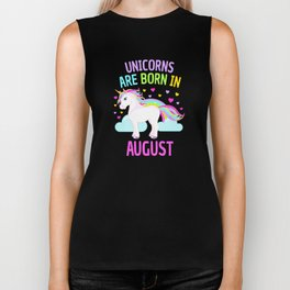 Unicorns are Born in August Cute Unicorn Rainbow Biker Tank