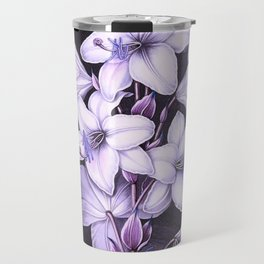 The White Lily w/ Variegated-leaves Lavender Temple of Flora Travel Mug