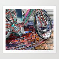 Neon Bicycles Art Print