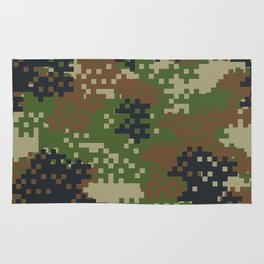 Pixel Woodland Camo Camouflage Pattern Rug