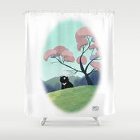 asian Shower Curtains featuring Asian bear by David Pavon