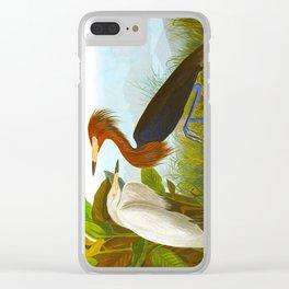 Purple Heron Clear iPhone Case