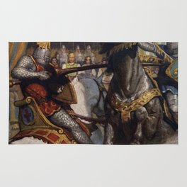 Knights jousting Rug