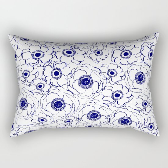 Painterly flowers indigo blue bright minimal modern painting gender neutral abstract art dorm room Rectangular Pillow