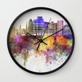 Fresno skyline in watercolor background Wall Clock