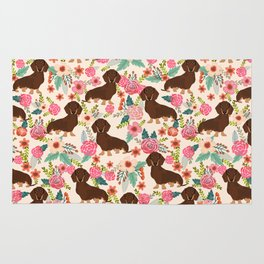 Doxie Florals - vintage doxie and florals gift gifts for dog lovers, dachshund decor, chocolate and Rug